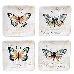 Certified International Nature Garden Square Appetizer Plates (Set of 4)