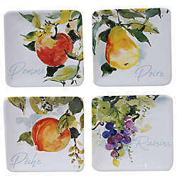 Certified International Ambrosia Square Appetizer Plates (Set of 4)