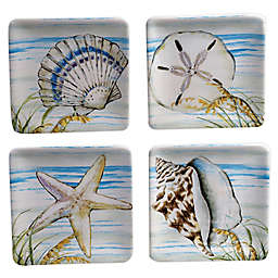 Certified International By the Sea Square Appetizer Plates (Set of 4)