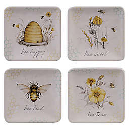 Certified International Sweet as a Bee Square Appetizer Plates (Set of 4)