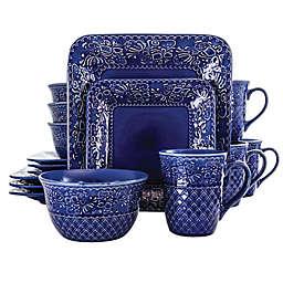 Elama Indigo Lotus 16-Piece Square Dinnerware Set