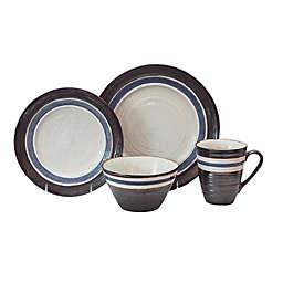 Baum Rustic Stripe 16-Piece Dinnerware Set in Black
