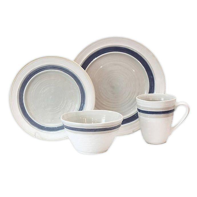 Alternate image 1 for Baum Rustic Stripe 16-Piece Dinnerware Set in White