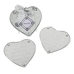 "Kate Aspen® ""Good Wishes"" Heart Glass Coasters (Set of 2)"