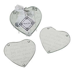 """Kate Aspen® """"Good Wishes"""" Heart Glass Coasters (Set of 2)"""
