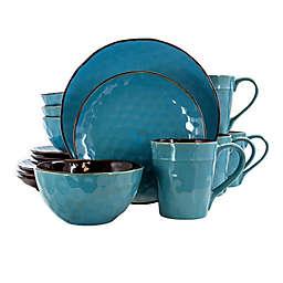 Elama Blue Textured 16-Piece Dinnerware Set