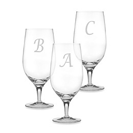 Susquehanna Glass Monogrammed Script Letter Iced Beverage (Set of 4)