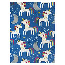 Hearthstone Rainbow Unicorn 3'11 x 5'7 Area Rug in Blue