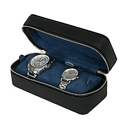 Mele & Co. Alden Faux Leather Travel Watch Case In Black