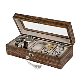 Mele & Co. Laramie Glass Top Wooden Watch Box in Hickory