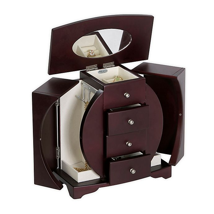 Alternate image 1 for Mele & Co. Oval Cut-Out Upright Jewelry Box - Simone - Mahogany