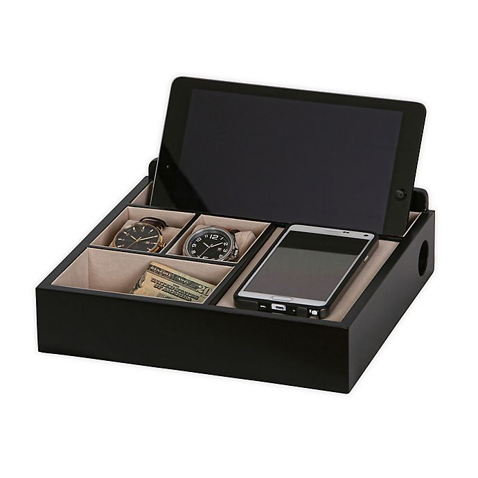 Alternate image 1 for Mele & Co. Rory Wooden Charging Valet in Java Finish