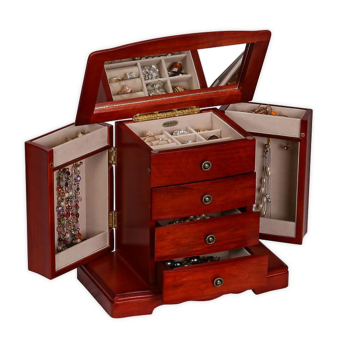 Alternate image 1 for Mele & Co. Harmony Wooden Musical Jewelry Box in Cherry