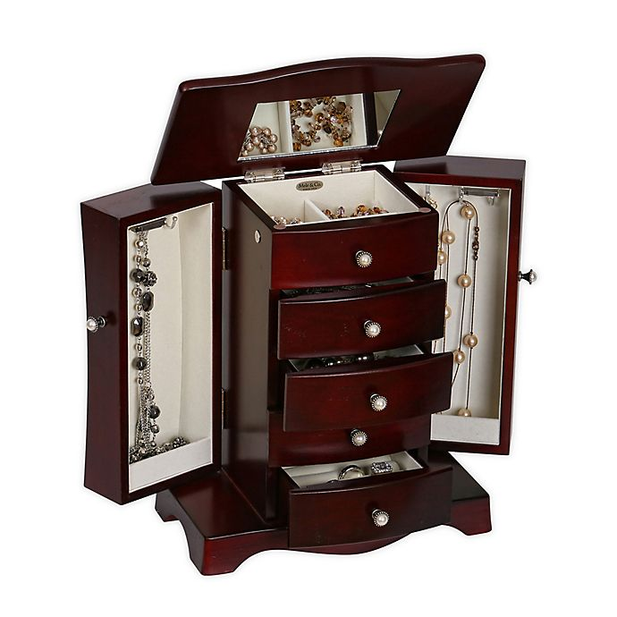 Alternate image 1 for Mele & Co. Bette Wooden Jewelry Box in Mahogany Finish