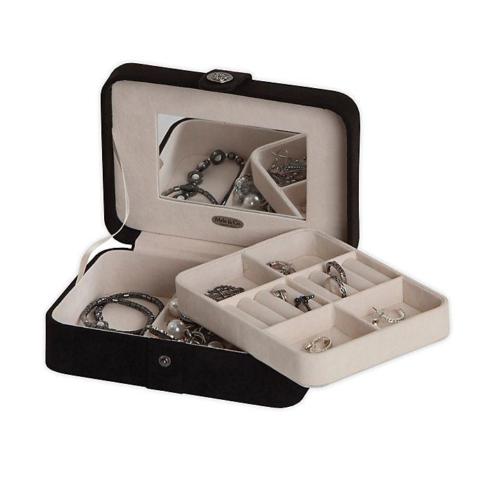 Alternate image 1 for Mele & Co. Giana Plush Fabric Jewelry Box in Black