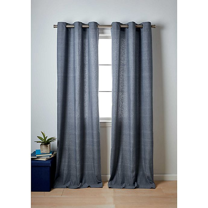 Alternate image 1 for Wamsutta® Collective Windsor 2-Pack Contrast Stitch Window Curtain Panels