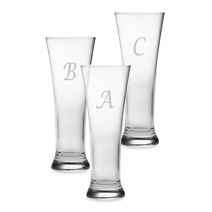 Alternate image 1 for Susquehanna Glass Monogrammed Script Letter Pilsners (Set of 4)