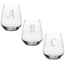 Susquehanna Glass Monogrammed Script Letter Stemless Wine Glass (Set of 4)