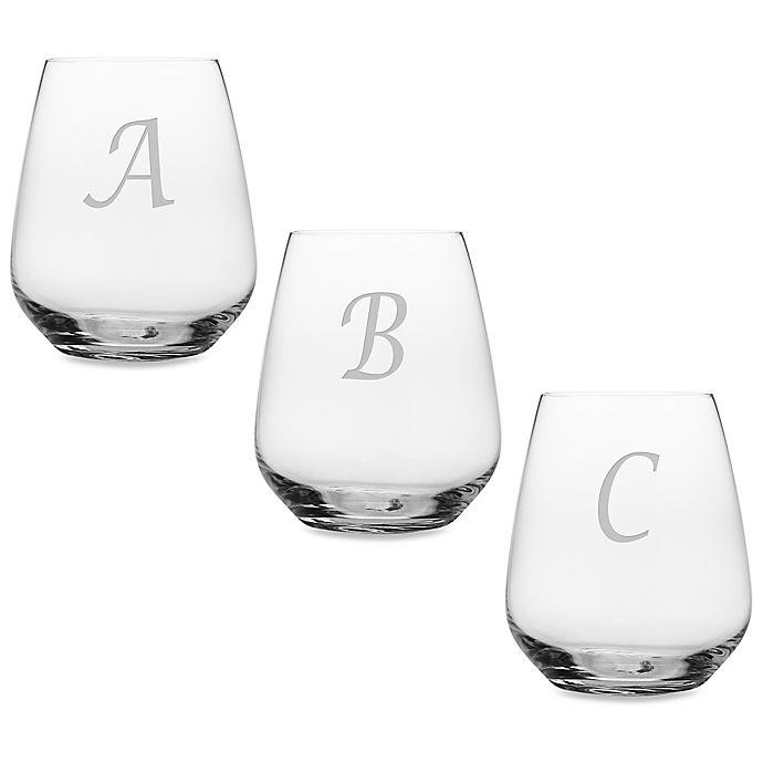 Alternate image 1 for Susquehanna Glass Monogrammed Script Letter Stemless Wine Glass (Set of 4)