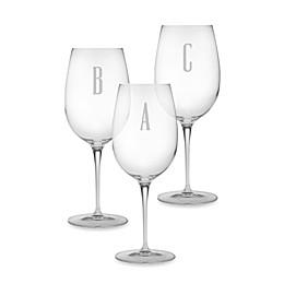 Susquehanna Glass Monogrammed Block Letter Wine Glasses (Set of 4)