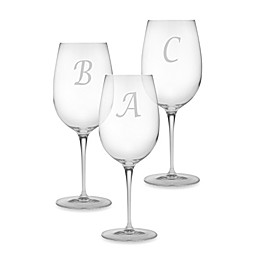 Susquehanna Glass Monogrammed Script Letter Wine Glasses (Set of 4)