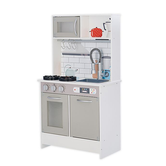 Alternate image 1 for Teamson™ Kids Valencia Wooden Classic Play Kitchen in Grey