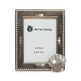 All For Giving Seashell Metal and Crystal Photo Frame