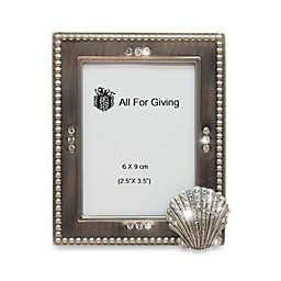 All For Giving Seashell Metal and Crystal Photo Frame
