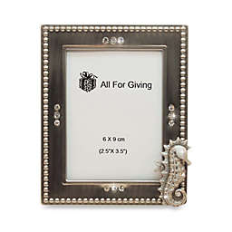 All For Giving Seahorse Metal and Crystal Photo Frame