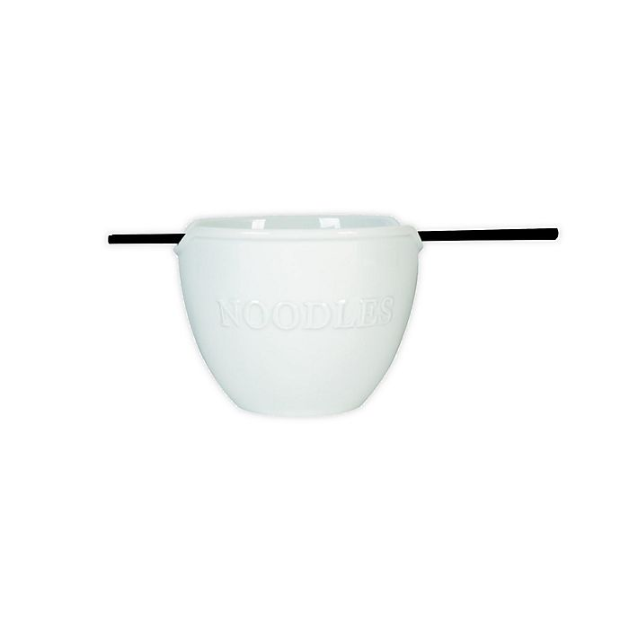 Alternate image 1 for Everyday White® by Fitz and Floyd® Bistro Noodle Bowl with Chopsticks