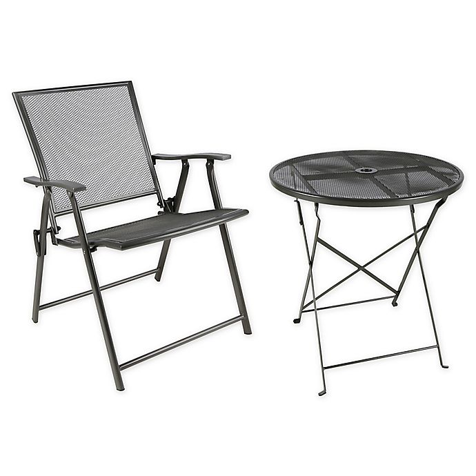 Alternate image 1 for Folding Mesh Patio Furniture Collection in Black