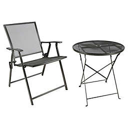 Folding Mesh Patio Furniture Collection in Black