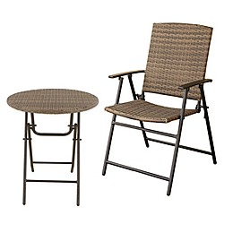 Barrington Folding Wicker Patio Bistro Furniture Collection