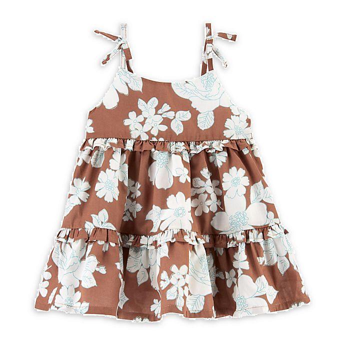 Alternate image 1 for OshKosh B'gosh® Floral Faux Tie Summer Dress in Brown
