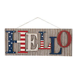 "Patriotic ""Hello"" 36-Inch Metal/Wood Wall Sign"