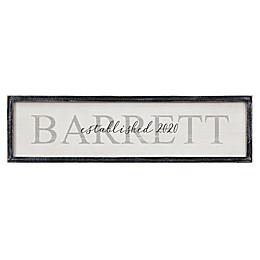 Family Name Personalized Long Blackwashed Barnwood Frame Wall Art