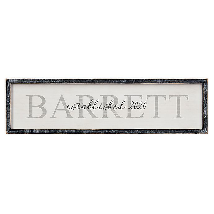 Alternate image 1 for Family Name Personalized Long Blackwashed Barnwood Frame Wall Art