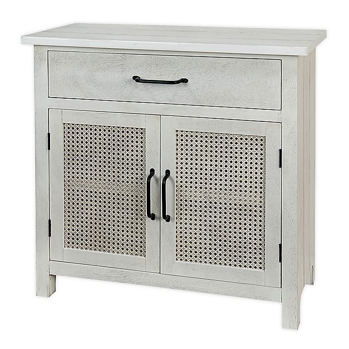 Bee Willow Home Cane Console Table, White Console Table With Storage Baskets