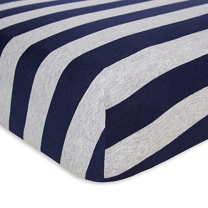 Alternate image 1 for Burt's Bees Baby® Bee Essentials Wide Stripe Organic Cotton Fitted Crib Sheet in Blueberry