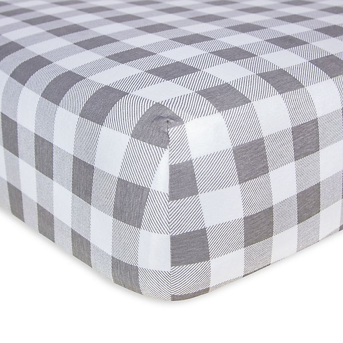 Alternate image 1 for Burt's Bees Baby® Buffalo Check Organic Cotton Fitted Crib Sheet in Fog