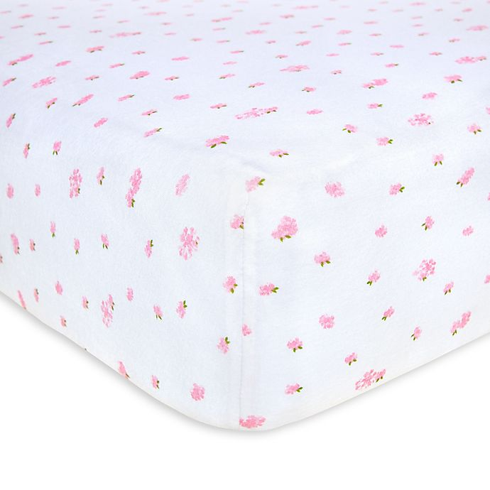 Alternate image 1 for Burt's Bees Baby® Butterfly Garden Organic Cotton Fitted Crib Sheet in Blossom