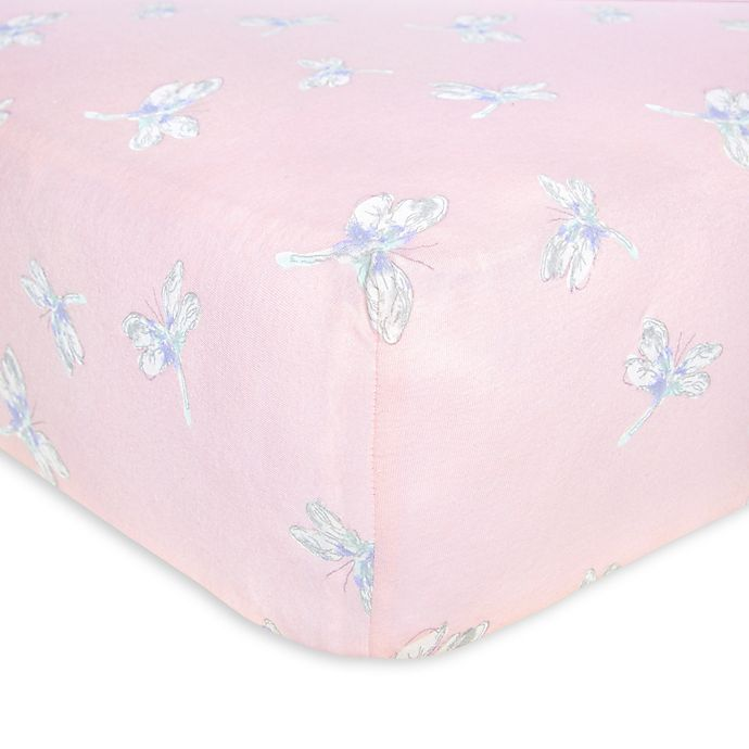 Alternate image 1 for Burt's Bees Baby® Dragonfly Organic Cotton Fitted Crib Sheet in Dawn
