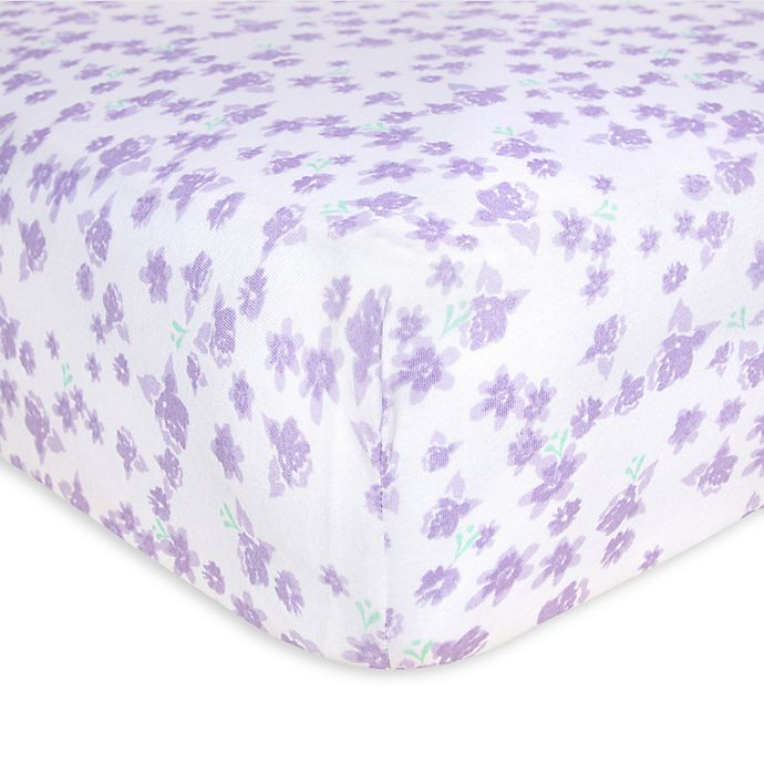 Alternate image 1 for Burt's Bees Baby® Ditsy Rose Organic Cotton Fitted Crib Sheet in Hyacinth