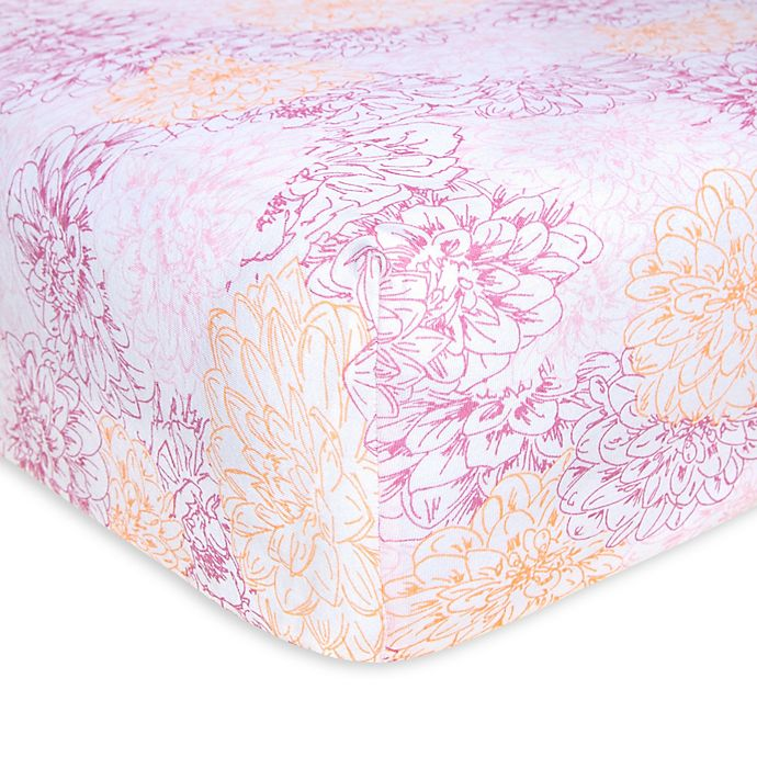 Alternate image 1 for Burt's Bees Baby® Peach Floral Organic Cotton Fitted Crib Sheet in Blossom