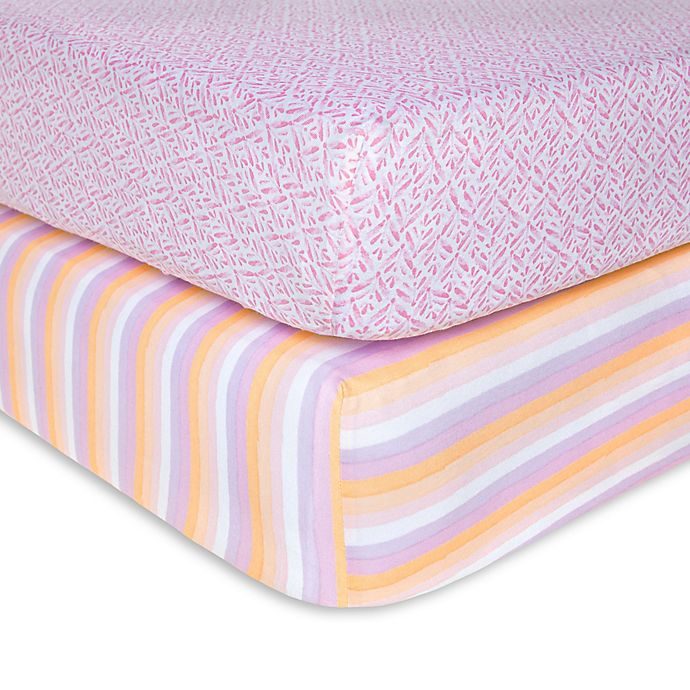 Alternate image 1 for Burt's Bees Baby® Sunset Stripe Organic Cotton Fitted Crib Sheets in Blossom (Set of 2)