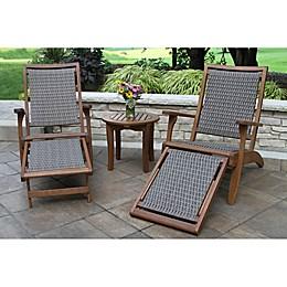 Outdoor Interiors® 3-Piece Eucalyptus Sliding Ottoman Patio Lounge Set in Brown/Grey