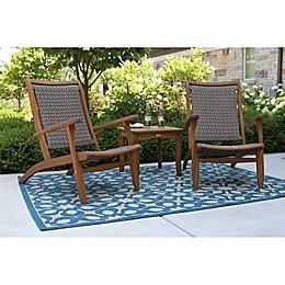 Outdoor Interiors® 3-Piece Eucalyptus Patio Lounge Set in Brown/Grey