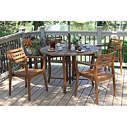 Outdoor Interiors® 5-Piece Eucalyptus Folding Patio Dining Set