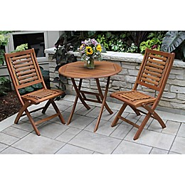 Outdoor Interiors® 3-Piece Eucalyptus Folding Bistro Set