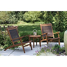 Outdoor Interiors® 3-Piece Eucalyptus & Sling Patio Lounge Set with Round Accent Table